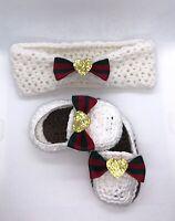 Baby Shoes Handmade Crochet Newborn Booties Headband Girl Bow Slides girl loafer