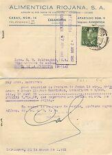 Cancelación de factura. Alimenticia Riojana, S.A. Año 1962.