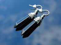Black Onyx Natural Gemstone Earrings Quartz Crystal Chakra Healing Stone Chakra