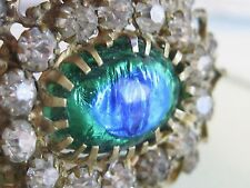 VERY OLD ANTIQUE PEACOCK EYE BLUE GREEN FOIL ART GLASS RHINESTONE PIN BROOCH
