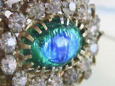 VERY OLD ANTIQUE PEACOCK EYE BLUE GREEN FOIL ART GLASS RHINESTONE PIN BROOCH