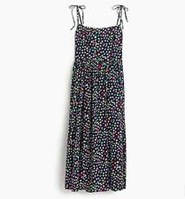 Womens J Crew Ratti Happy Cat Print Spaghetti Strap Navy Blue Dress Size 10P M