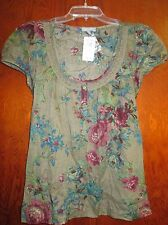 NWT Delia's Sz M Slvlss Cotton Army Green & Floral Top Ret$34 Gr8T Gift for FALL