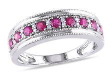 Bandring 925 Sterling Silber Halb-Memory Ring Zirkonia Purpurrot Pink Größe 53