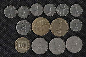 14 Coins - Israel New Shekel Collection Sheqel Jewish Israeli Money