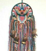 Mandala Weaving rust blue Woven Art wall hanging tails feathers beads.