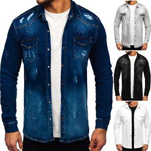 Jeanshemd  Herrenhemd Freizeithemd Jeans Hemd Denim Casual Herren Mix BOLF Motiv