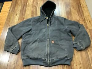 MENS LARGE TALL - Carhartt J130 Sandstone Flannel Quilt Lined Hooded Jacket