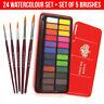 Major Brushes 24 Blocks Artist Watercolour Paint Metal Tin + 5 Sable Brush Set