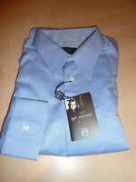 NEW $265 IKE BEHAR Mens Dress SHIRT 16.5 34 35 Blue Made Canada Cotton BC