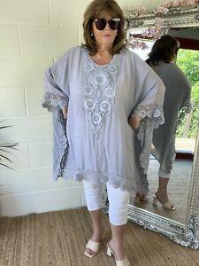 Kaftan Beach Dress Silver Floaty Boho Hippie 16 18 20 22 24 26 28 NEW