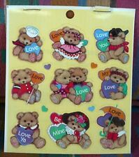 Vintage 1996 Standard Teddy Bears And Hearts 3 Sheets 39 Stickers Be Mine,Love