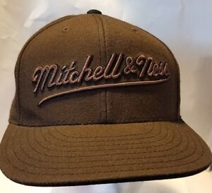 "MITCHELL & NESS  Fitted Hat 7 1/4"" Professional Model Cap Brown"