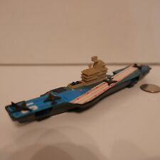 "Vintage Tootsietoy 8"" Long Blue Aircraft Carrier with Four Planes"