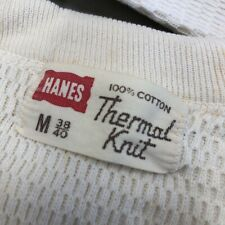 Vintage Hanes T Shirt Thermal Knit Medium 60s 1960s Off White 50s