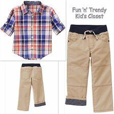 NWT Gymboree AWAY WE GO Boys Size 6-12 Months Plaid Shirt Pull-On Pants 2-PC SET