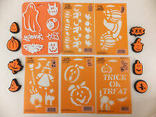 Halloween Stencil and Stamp Set Lot of 14 Fall Leaves Ghost Pumpkin Witch Cat v2