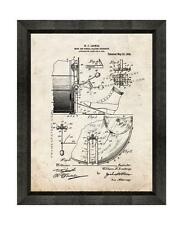 Drum and Cymbal Patent Print Old Look in a Beveled Black Wood Frame