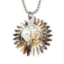 Hot Yoga Ohm Om Classic Sun Peace Silver Plated Necklace Meditation Buddha