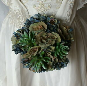 Bluesy Green Silk Succulent and Rose Bride or Bridesmaid Wedding Bouquet