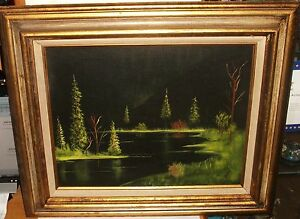 MONIKA ORIGINAL RIVER LANDSCAPE AT NIGHT OIL ON CANVAS PAINTING DATED 1974