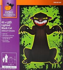 Halloween Home Accents 42 inch LED Lighted Black Cat Airblown Inflatable NIB