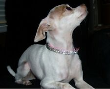 "Small Pink Swarovski Crystal Rhinestone Dog Collar Fits 8-12"" Necks"