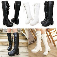 Womens Pull On Lace Up Round Toe Low Heel Platform Knee High Combat Boots Size