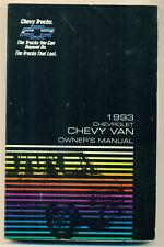 Chevrolet Chevy Van  Betriebsanleitung Owners Manual   1993