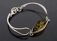 925 Silber Armreif, Armband mit Bernstein, Grün, L-19cm  NEU (SB812)
