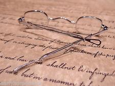 Antique Style, Small Reading Eyeglasses +150 Sliding Bow Silver Brass Rev War