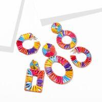 Women Colorful Straw Rattan Woven Wooden Earrings Geometric Drop Dangle Jewelry