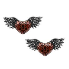 Red Winged Heart with Keyhole Earrings Stainless Steel Jewelry By Controse