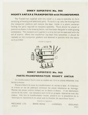NOTICE LEAFLET ONLY DINKY TOYS #908 PORTE TRANSFO MIGHTY ANTAR ORIGINAL & ANCIEN