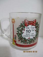 """Luminarc 10TH DAY OF CHRISTMAS """"Twelve Days of Christmas"""" Glass Coffee Cup"""