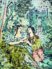 ANTIQUE vintage PIANO COVER COVERLET chenille corduroy