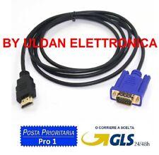 Cavo 1,8m da VGA a HDMI adattatore convertitore PC TV HD cavetto per NOTEBOOK