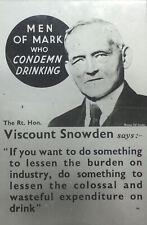 C1900s Glass Lantern Slide Of Viscount Snowden On Condemn Drinking