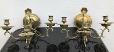 Pair Wall Application Lights Candle Holder Brass Baroque Style Antique 19.JH