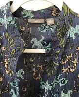 Apt 9 Women's Medium Paisley Short Sleeve Button Down Top Blouse Semi Sheer