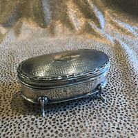 19C Antique English Sterling .925 Oval Footed Treasure Trinket Box Silk Lined