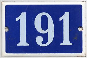 Old blue French house number 191 door gate plate plaque enamel steel metal sign