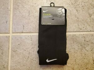 Nike SOCCER Socks BLACK Academy Cushioned Over the Calf, Size L, New, DRI-FIT