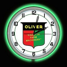 """Oliver Finest in Farm Machinery 19/"""" Green Double Neon Clock Chrome Finish Garage"""