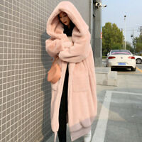 Winter Womens Hooded Faux Mink Fur Coat Outwear Oversize Thick Warm Sweet Casual