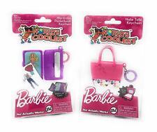 (2) BARBIE PURSE Keychain Dress-Up Wardrobe/Note Pad Worlds Smallest/Coolest