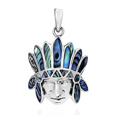 Native American Style Abalone Inlay .925 Silver Pendant
