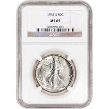 1944-S US Walking Liberty Silver Half Dollar 50C - NGC MS65