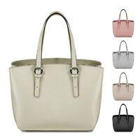 Ladies Italian Real Leather Bucket Handbag Buckle Shoulder Bag Tote Bag MLE-1024