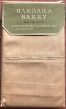 Barbara Barry Feather Stitch Beige Std Queen Pillowcases Pair 100% Cotton 400TC